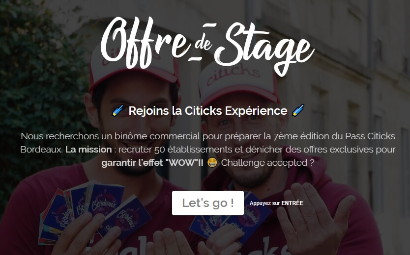 Image article 🌠 OFFRE DE STAGE : rejoins la #CiticksExperience 🌠